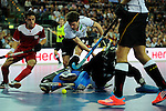 Leipzig, Germany, February 08: Oliver Korn #18 of Germany in action during the men bronze medal match between Germany (white) and Iran (red) on February 8, 2015 at the FIH Indoor Hockey World Cup at Arena Leipzig in Leipzig, Germany. Final score 13-2. (Photo by Dirk Markgraf / www.265-images.com) *** Local caption *** Oliver Korn #18 of Germany, Alireza Chazanisharahi #12 of Iran