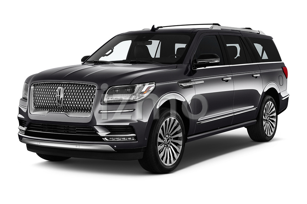 2019 Lincoln Navigator L Reserve 5 Door Wagon angular front stock photos of front three quarter view