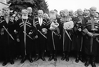 Russia. Krasnodar Krai Region. Krasnodar. City center. A group of cossacks wearing their traditional military uniforms during the celebration of the 200th year anniversary of Krasnodar's foundation.The city originated in 1793 as a fortress built by the Cossacks, and became a trading center for southern Russia. Cossacks are a group of predominantly East Slavic Orthodox Christian people, who became known as members of democratic, self-governing, semi-military communities originating in the steppes in what is today Southern Russia. They played an important role in the historical development of Russia. Krasnodar (also known as Kuban) is the largest city and the administrative centre of Krasnodar Krai in Southern Russia. 2.10.1993 © 1993 Didier Ruef