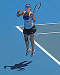 Januaary 27, 2010.Na Li of China, jumps for joy after defeating the USA's Venus Williams, 2-6, 7-6, 7-5 in the quarter final of the Australian Open, Melbourne Park, Melbourne, Australia.