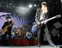 MAY 8: Dusty Hill, Frank Beard, and Billy Gibbons of ZZ Top perform at Chastain Park Amphitheatre in Atlanta on May 8, 2010. CREDIT: Chris McKay / MediaPunch