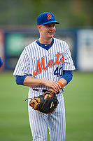 St. Lucie Mets catcher Dan Rizzie (40) warms up before the first game of a doubleheader against the Charlotte Stone Crabs on April 24, 2018 at First Data Field in Port St. Lucie, Florida.  St. Lucie defeated Charlotte 5-3.  (Mike Janes/Four Seam Images)