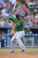 Savannah Sand Gnats shortstop Amed Rosario #9 awaits a pitch during a game against the Asheville Tourists at McCormick Field September 3, 2014 in Asheville, North Carolina. The Tourists defeated the Sand Gnats 8-3. (Tony Farlow/Four Seam Images)