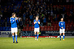 St Johnstone v Lask…26.08.21  McDiarmid Park    Europa Conference League Qualifier<br />Murray Davidson, Jamie McCart and Michael O'Halloran pictured at full time<br />Picture by Graeme Hart.<br />Copyright Perthshire Picture Agency<br />Tel: 01738 623350  Mobile: 07990 594431