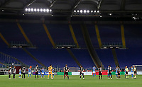 Juventus and Napoli players observe a minute of silence in memory of Covid-19 victims, before the start of the Italian Cup football final match between Napoli and Juventus at Rome's Olympic stadium, with closed doors, June 17, 2020. Napoli won 4-2 at the end of a penalty shootout following a scoreless draw.<br /> UPDATE IMAGES PRESS/Isabella Bonotto