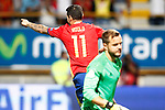 Spain's Vitolo celebrates goal in presence of Liechtenstein's Peter Jehle dejected during FIFA World Cup 2018 Qualifying Round match. September 5,2016.(ALTERPHOTOS/Acero)