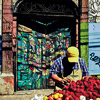 A Salvadoran man sells the rambutan fruit in front of a ruined house with Spanish colonial architecture elements, painted over by a local artist, in the center of San Salvador, El Salvador, 12 November 2016.