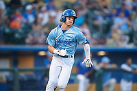 Omaha Storm Chasers Bobby Witt Jr. (7) runs to first base during a game against the Iowa Cubs on August 14, 2021 at Werner Park in Omaha, Nebraska. (Zachary Lucy/Four Seam Images)