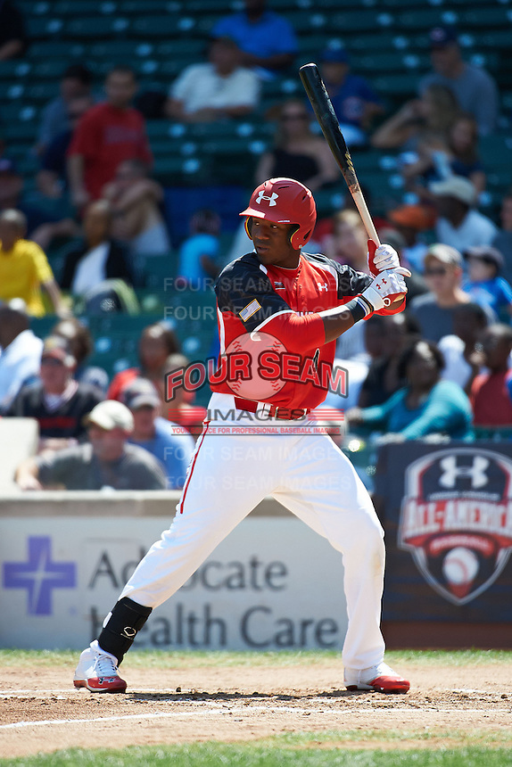 Outfielder Justin Williams #4 of Terrebonne High School in Houma, Louisiana participates in the Under Armour All-American Game powered by Baseball Factory at Wrigley Field on August 18, 2012 in Chicago, Illinois.  (Mike Janes/Four Seam Images)