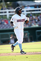 Ayendy Perez (3) of the Inland Empire 66ers walks to first base after being hit by a pitch during a game against the Visalia Rawhide at San Manuel Stadium on June 26, 2016 in San Bernardino, California. Inland Empire defeated Visalia, 5-1. (Larry Goren/Four Seam Images)