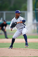 GCL Rays relief pitcher Luis Nunez (48) during the first game of a doubleheader against the GCL Red Sox on August 9, 2016 at JetBlue Park in Fort Myers, Florida.  GCL Rays defeated GCL Red Sox 5-4.  (Mike Janes/Four Seam Images)
