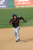 Guillermo Pimentel (1) of the Bakersfield Blaze runs the bases during a game against the Rancho Cucamonga Quakes at LoanMart Field on June 1, 2015 in Rancho Cucamonga, California. Rancho Cucamonga defeated Bakersfield, 5-2. (Larry Goren/Four Seam Images)