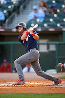 Lehigh Valley IronPigs third baseman Taylor Featherston (6) hits a home run during a game against the Buffalo Bisons on July 9, 2016 at Coca-Cola Field in Buffalo, New York.  Lehigh Valley defeated Buffalo 9-1 in a rain shortened game.  (Mike Janes/Four Seam Images)