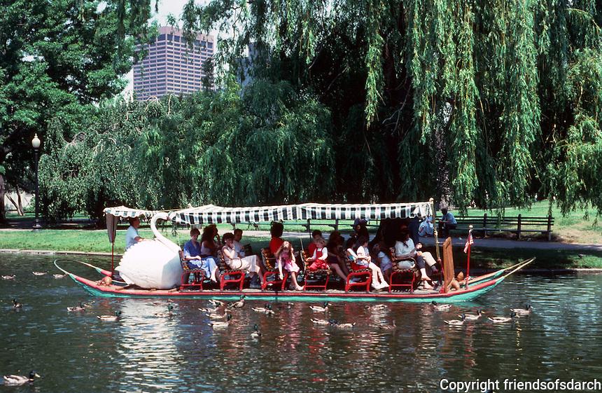 Boston:  Public Garden--Swan Boat.  Photo '88.