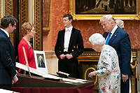 President Donald J. Trump joined by Queen Elizabeth tours the Royal Collection of American items in the Picture Gallery at Buckingham Palace Monday, June 3, 2019 in London. (Official White House Photo by Shealah Craighead)