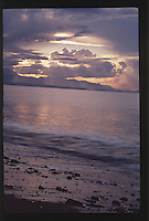 Sunset over Dungeness Spit and the Strait of Juan de Fuca, Dungeness National Wildlife Refuge, Olympic Peninsula, Washington, US