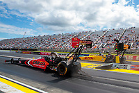 Jul 12, 2020; Clermont, Indiana, USA; NHRA top fuel driver Steve Torrence (near) races alongside Shawn Langdon during the E3 Spark Plugs Nationals at Lucas Oil Raceway. This is the first race back for NHRA since the start of the COVID-19 global pandemic. Mandatory Credit: Mark J. Rebilas-USA TODAY Sports