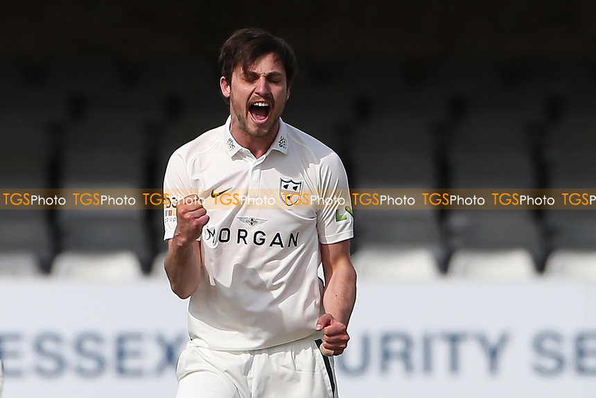Ed Barnard of Worcestershire celebrates taking the wicket of Dan Lawrence during Essex CCC vs Worcestershire CCC, LV Insurance County Championship Group 1 Cricket at The Cloudfm County Ground on 8th April 2021