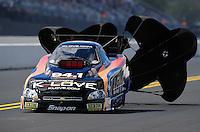Sept. 18, 2011; Concord, NC, USA: NHRA funny car driver Tony Pedregon during the O'Reilly Auto Parts Nationals at zMax Dragway. Mandatory Credit: Mark J. Rebilas-