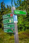 Deutschland, Bayern, Niederbayern, Naturpark Bayerischer Wald: Wegweiser zum Gipfel des Grossen Arber, mit 1455 m hoechster Berg des Bayerischen Waldes und Niederbayerns, auch als 'Koenig des Bayerischen Waldes' bezeichnet | Germany, Bavaria, Lower-Bavaria, Nature Park Bavarian Forest: signpost to summit of The Great Arber mountain, with 1455 m highest mountain in the Bavarian Forest, also named 'King of the Bavarian Forest'