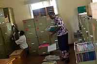 MSF filing cabinets containing the medical records of the 11,622 patients under care for HIV treatment in Homa Bay, Kenya.