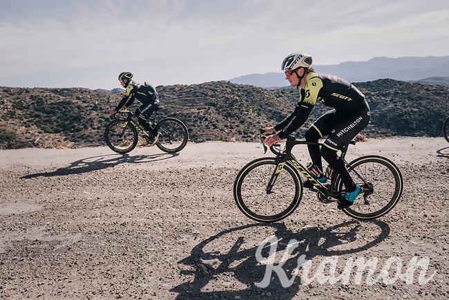 Alexander Edmondson (AUS/Michelton-Scott) & Caleb Ewan (AUS/Michelton-Scott) on a surprise gravel section along the way<br /> <br /> Michelton-Scott training camp in Almeria, Spain<br /> february 2018
