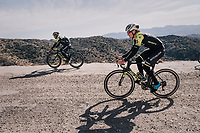 Alexander Edmondson (AUS/Michelton-Scott) & Caleb Ewan (AUS/Michelton-Scott) on a surprise gravel section along the way<br /> <br /> Michelton-Scott training camp in Almeria, Spain<br /> february 2018