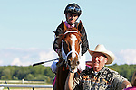 September 19, 2015. Larry Jones leads Cotillion contender I'm a Chatterbox in the walking ring before the race. I'm a Chatterbox, Florent Geroux up,  wins the $1,000,000 Grade I Cotillion Stakes, one and 1/16th miles for three-year-old fillies, at  Parx Racing in Bensalem, PA. Trainer is Larry Jones; owners are Fletcher and Carolyn Gray (Joan Fairman Kanes/ESW/CSM)