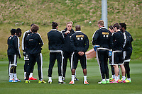 Thursday 20 March 2014<br /> Pictured: Garry Monk, Manager of Swansea City talk to players on the taining ground<br /> Re: Swansea City Training at their Fairwood training facility, Swansea, Wales,UK