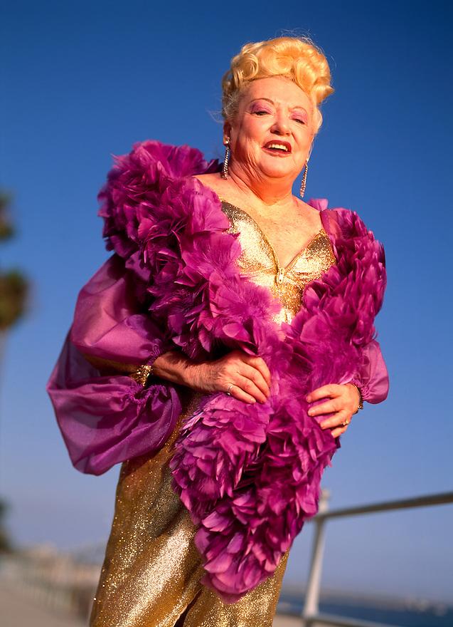 Legendary Burlesque dancer Flame O'Neil (Barbara Bliss) photgraphed in  Long Beach, California on September 17, 1994