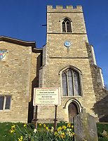 """St Marys Church in Goldington, Bedford, UK has sign outside encouraging people to 'Wash your Hands, Dont Panic Buy, Keep to Social Distance and Love Your Neighbours"""" as the Coronavirus (Covid 19) pandemic accelerates in the UK. March 23rd 2020<br /> <br /> Photo by Keith Mayhew"""