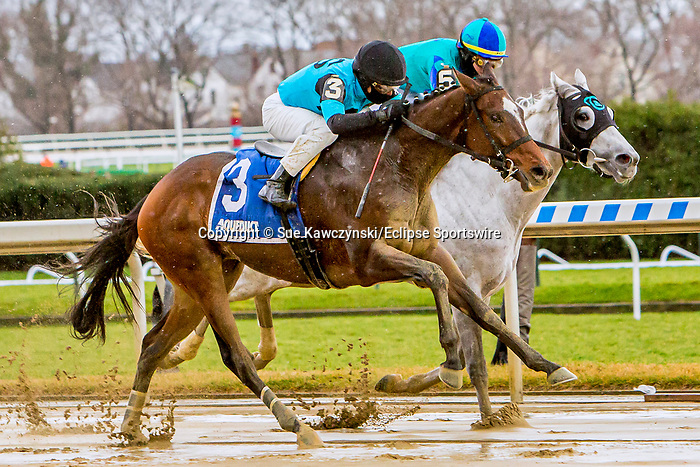 DEC 05, 2020 : NY Bred Brooklyn Strong (#3) with Joel Rosario aboard, wins the Grade 2 Remsen Stakes, for 2-year olds, earning 10 Kentucky Derby points.  Belmont Park, Elmont, NY.  Sue Kawczynski/Eclipse Sportswire/CSM