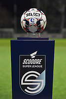 illustration picture of the matchball on the Scooore Superleague standard pictured during a female soccer game between  AA Gent Ladies and Racing Genk on the 12 th matchday of the 2020 - 2021 season of Belgian Scooore Womens Super League , friday 29 th of January 2021  in Oostakker , Belgium . PHOTO SPORTPIX.BE | SPP | DIRK VUYLSTEKE