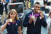 NEW YORK,NY - AUGUST 13: US Olympic Gold Medalists Katie Ledecky and Cullen Jones on NBC's Today  at Rockefeller Center in New York City. August 13, 2012. Credit:  mpi44/MediaPunch Inc.