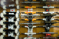 Skateboard trucks and wheels on display at OldSkool skateboard shop in Westerville, Ohio.  Photo Copyright Gary Gardiner. Not for reproduction without written permission.