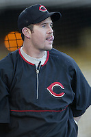 Sean Casey of the Cincinnati Reds before a 2002 MLB season game against the Los Angeles Dodgers at Dodger Stadium, in Los Angeles, California. (Larry Goren/Four Seam Images)