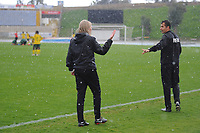 20190227 - LARNACA , CYPRUS : Swedish head coach of Finland Anna Signeul pictured in a discussion with Cypriotic Referee Nikolas Neokleous during a women's soccer game between the South African Banyana Banyana and Finland , on Wednesday 27 February 2019 at the GSZ Stadium in Larnaca , Cyprus . This is the first game in group A for both teams during the Cyprus Womens Cup 2019 , a prestigious women soccer tournament as a preparation on the Uefa Women's Euro 2021 qualification duels and the Fifa World Cup France 2019. PHOTO SPORTPIX.BE | STIJN AUDOOREN
