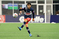 FOXBOROUGH, MA - MAY 16: Carles Gil #22 of New England Revolution passes towards the Columbus SC goal during a game between Columbus SC and New England Revolution at Gillette Stadium on May 16, 2021 in Foxborough, Massachusetts.