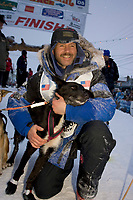 Robert Sorlie @ the Finish w/Lead Dog *Sox* Nome AK 2005 Iditarod Winner