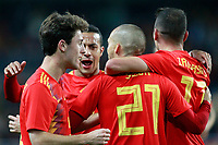 Spain's Alvaro Odriozola, Thiago Alcantara, David Jimenez Silva and Iago Aspas celebrate goal during international friendly match. November 11,2017.(ALTERPHOTOS/Acero) /NortePhoto.com