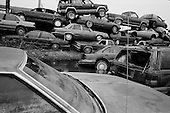 New Orleans, Louisiana.USA.February 20, 2006..Piles of cars in East New Orleans at a dump yard damaged from hurricane Katrina and the levee breaks.