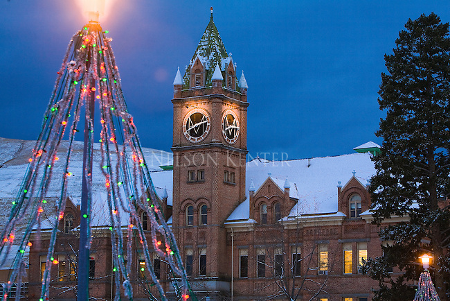Main Hall on the University of Montana campus at Christmas time