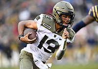 PHILADELPHIA, PA - DEC 14, 2019: Army Black Knights quarterback Christian Anderson (13) runs the football for a touchdown during first half action of game between Army and Navy at Lincoln Financial Field in Philadelphia, PA. The Midshipmen defeated Army 31-7. (Photo by Phil Peters/Media Images International)