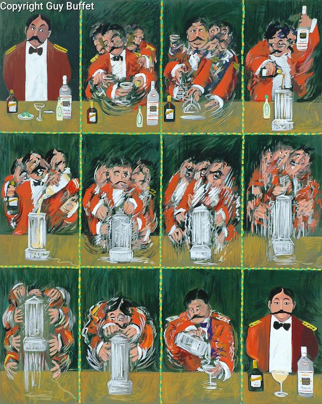 """Una Margarita Por Favor""<br /> Limited Edition Serigraph Paper 31x25<br /> SN $750<br /> With Original Watercolor Remarque $1,150<br /> <br /> Classic Guy Buffet ""Cinematique"" style!"