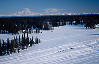 Aerial of Team on Trail to Finger Lake Mt.Mckinley