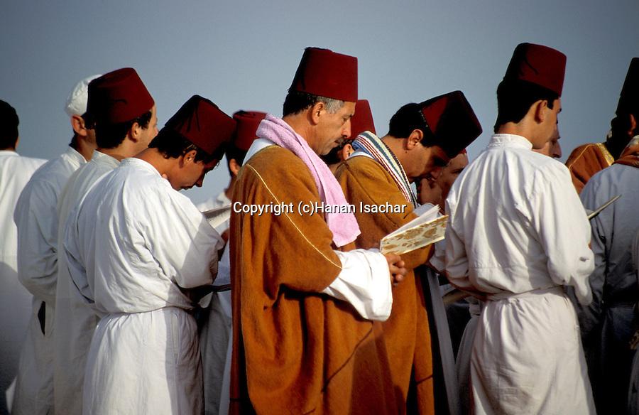Samaria, Samaritan pilgrimage To Mount Gerizim done on Passover, Shavuot and Succot holidays. A prayer at dawn&#xA;<br />