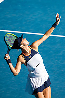 13th February 2021, Melbourne, Victoria, Australia; Belinda Bencic of Switzerland serves the ball during round 3 of the 2021 Australian Open on February 13 2020, at Melbourne Park in Melbourne, Australia.