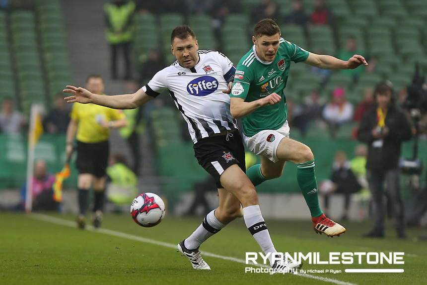 Brian Gartland of Dundalk in action against Garry Buckley of Cork City during the Irish Daily Mail FAI Cup Final between Dundalk and Cork City, on Sunday 4th November 2018, at the Aviva Stadium, Dublin. Mandatory Credit: Michael P Ryan.