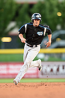 Syracuse Chiefs designated hitter Greg Dobbs (22) running the bases during a game against the Buffalo Bisons on July 23, 2014 at Coca-Cola Field in Buffalo, New  York.  Syracuse defeated Buffalo 5-0.  (Mike Janes/Four Seam Images)