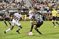 Orlando, FL - Saturday Jan. 21, 2017:  Corinthians left back Moisés (6) takes on São Paulo midfielder Bruno (2) during the first half of the Florida Cup Championship match between São Paulo and Corinthians at Bright House Networks Stadium.